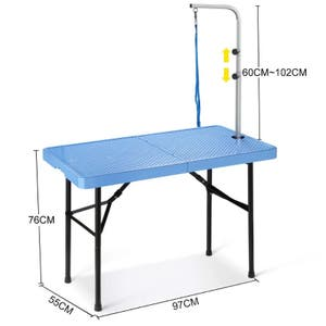Foldable Pet Grooming Table with Iron Frame - 97cm in Length - BLUE