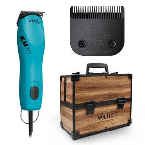 Wahl KM10 2 speed CLIPPER Blue with Large Wooden Case - Pet Clipper